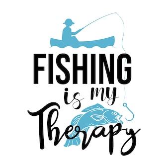 Рыбалка - моя терапия надписи типографская иллюстрация