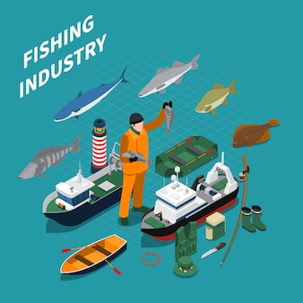 Fishing isometric illustration with fishing industry symbols on blue