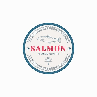 Fishing label with salmon fish.