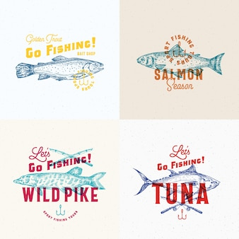 Fishing labels set.