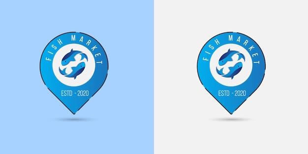 Концепция логотипа рыбалки с прыгающей рыбой