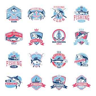Fishing logo fishery logotype with fisherman in boat and emblem with fished fish for fishingclub set
