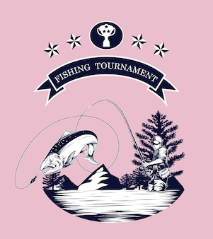 Логотип ловушки для рыбалки вручную