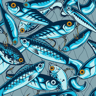 Fishing lures and baits seamless pattern with fisherman artificial accessories in vintage style illustration