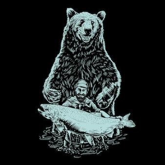 곰 일러스트와 함께 낚시 남자