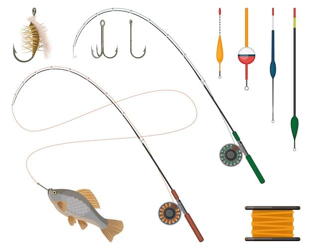 낚시 제조 업체 및 공급 업체 아이콘을 설정합니다. 릴 및 어업로드, 라인 스피닝 및 플로트, 태클 및 보빈. 물고기 잡기 스포츠 취미 용품