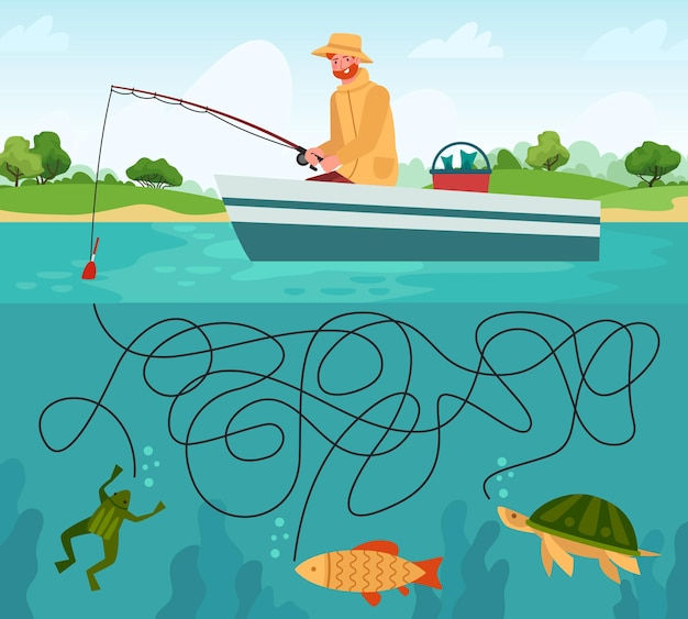 Fishing maze game. funny fisherman with fishing rod in boat and fishes, educational game labyrinth for children, cartoon vector illustration. game labyrinth educational, funny maze fisherman