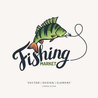 釣り現代の手描きのレタリングフレーズ書道のブラシとインク