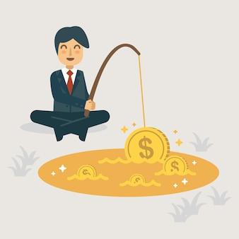 Fishing money in the golden pool illustration.