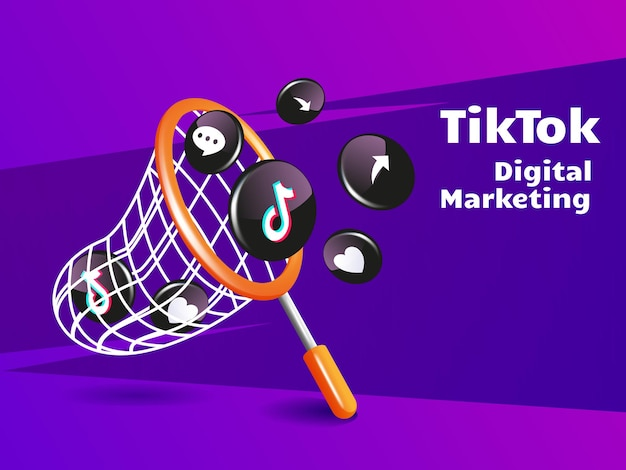 Fishing net and tiktok icon digital marketing social media concept