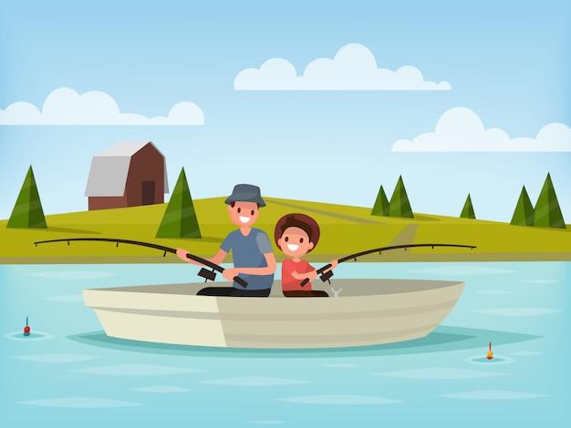 湖での釣り。父と息子はボートに座って釣りに行きます。図