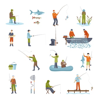 Fishing people fish and tools icons set
