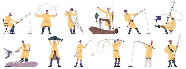 낚시하는 사람들. 야외 낚시 스포츠, 취미 레크리에이션, 보트 또는 해안 낚시 어부 캐릭터 벡터 일러스트레이션 세트. 만화 낚시 어부 마스코트