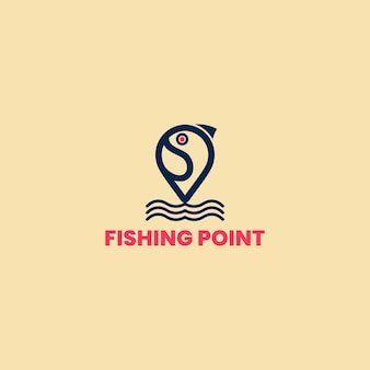 Fishing point logo template, fish logo template. creative vector symbol of a fishing club or online shop.