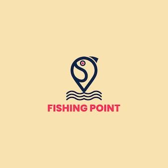 낚시 포인트 로고 템플릿, 물고기 로고 템플릿입니다. 낚시 클럽이나 온라인 상점의 창의적인 벡터 기호입니다.