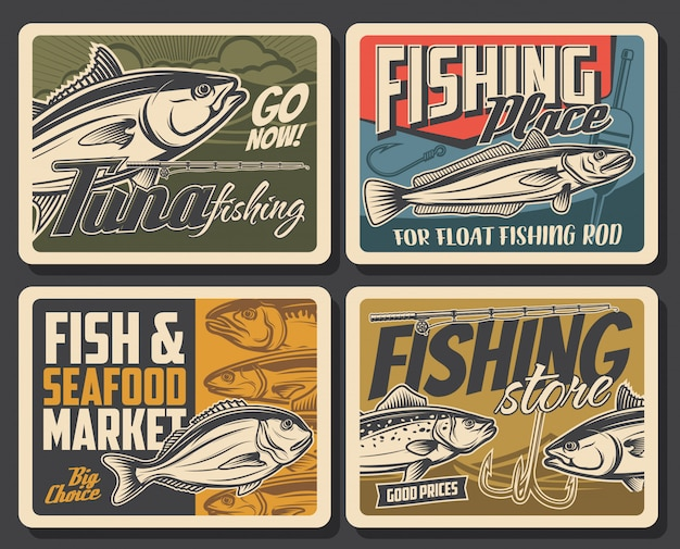 Fishing posters, fish and fisherman rod for sea tuna, lake trout and bass, . sea and ocean fishing big catch market, fisher baits and lures store, hook for dorada and scomber fish