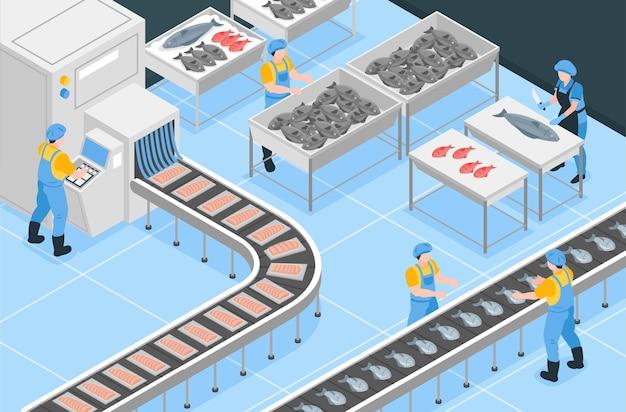 Изометрическая иллюстрация рыболовного производства с рабочими, занятыми ручной обработкой и сортировкой на конвейере
