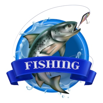 Fishing realistic colorful logo with fish taking bait on sea circle