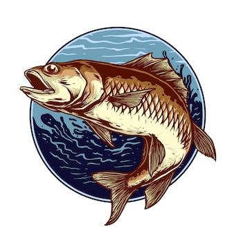 Рыбалка ретро значок иллюстрации