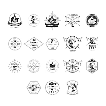 Fishing retro design insignias logotypes set.