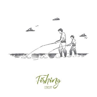 낚시, 강, 아버지, 아들, 캐치 개념. 손으로 그린 된 아빠와 그의 아들 강 개념 스케치에서 함께 낚시.