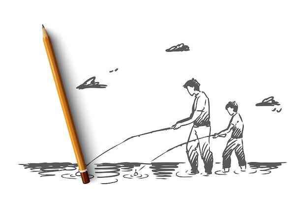 釣り、川、父、息子、キャッチコンセプト。手描きのお父さんと彼の息子が川のコンセプトスケッチで一緒に釣りをしています。