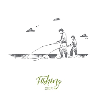 Fishing, river, father, son, catch concept. hand drawn dad and his son fishing together in river concept sketch.