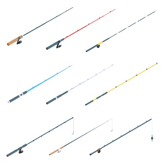 Fishing rod icons set, isometric style