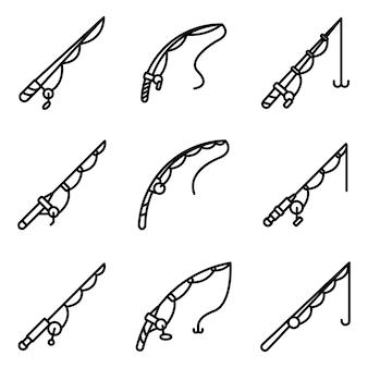 Fishing rod icons set