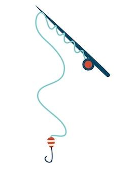 釣り竿。側面図。アウトドアレクリエーションやスポーツ用のアクセサリー。釣り。
