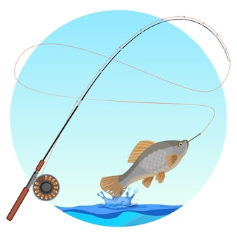 Fishing rod with caught fish on hook. water splashes and drops below cold-blooded animal with fins and gills. hobby fishery sport badge