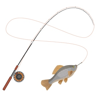 Fishing rod with caught limbless cold-blooded animal trapped on hook. hobby fishery sport icon isolated  . catching fish on spinning tackle icon