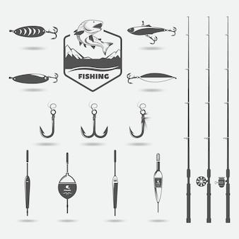 Fishing rods, fishing hooks, lure for fishing, floats, set for hobby
