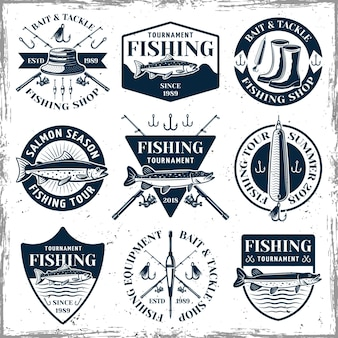 Fishing set of nine vintage emblems, labels, badges or logos