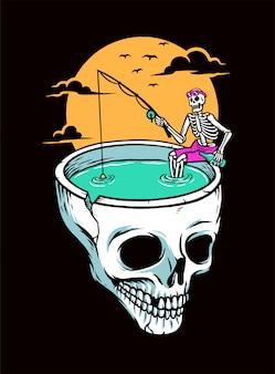 Fishing skull illustration