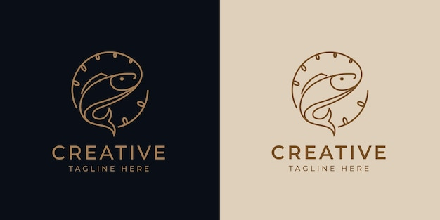 Fishing sport logo design template vector illustration of fish got baited vintage modern logo line design template