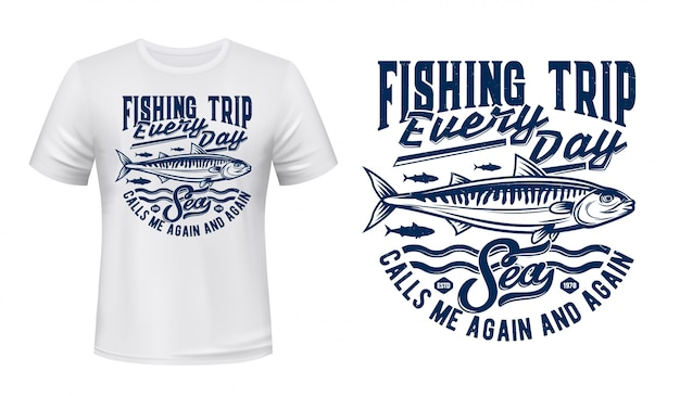 Fishing sport t-shirt print with mackerels shoal
