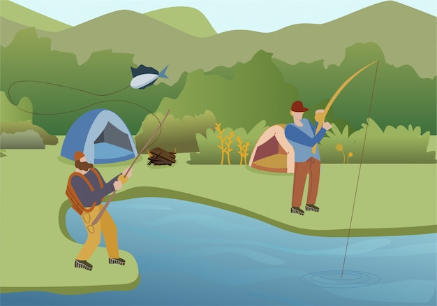 Fishing summer hobby flat illustration