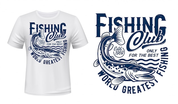 Fishing t-shirt print, pike fish on waves