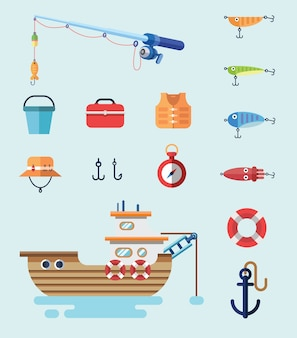Fishing tools and boat in flat style