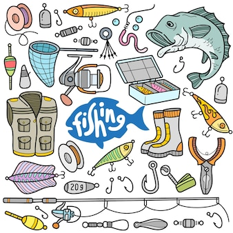 Fishing tools and equipments colorful vector graphics elements and doodle illustrations