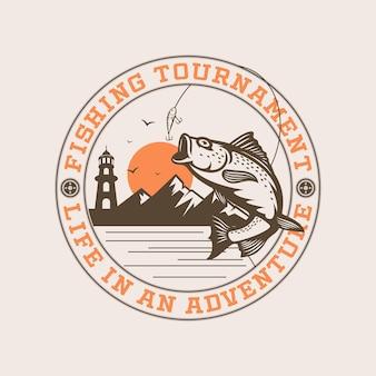 Fishing tournament logo premium vector