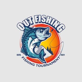 Шаблон логотипа рыболовного турнира