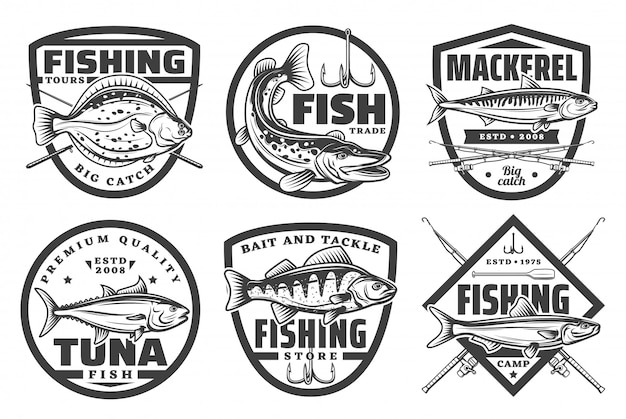 Fishing tours, fisherman camp sport club badges