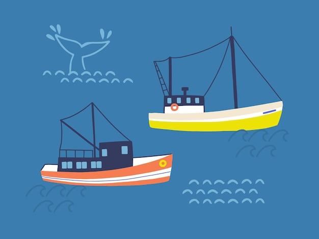 Fishing trawlers in open sea flat illustration
