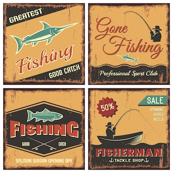 Fishing vintage style concept