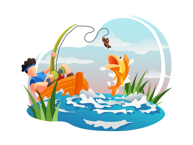 Fishing web flat illustration