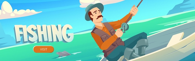 Fishing website with lake and man in boat fisherman with rod catches in river pond or sea