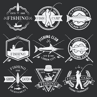 Fishing white emblems on black background