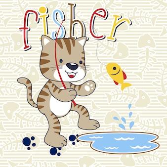Fishing with funny cat cartoon
